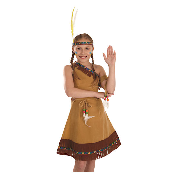 Dress; Belt; Leg Covers; Headpiece With Feathers ( fun-2968-200S )  sc 1 st  eBay & 4-6 years Indian Squaw Girl childrens dress up costume by Fun Shack ...